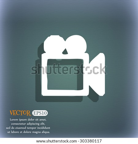 camcorder icon symbol on the blue-green abstract background with shadow and space for your text. Vector illustration - stock vector