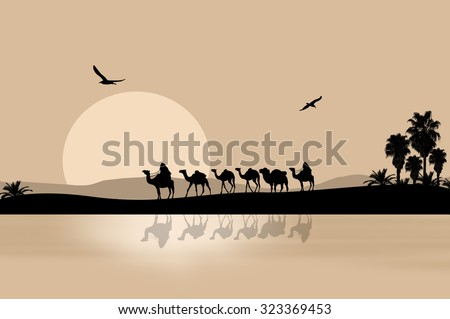 Camel caravan going through the desert on beautiful on sunset, vector illustration - stock vector