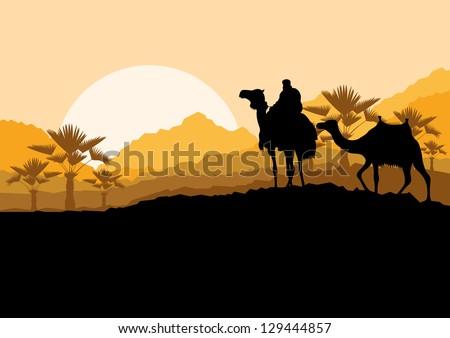 Camel caravan in wild desert mountain nature landscape background illustration vector - stock vector