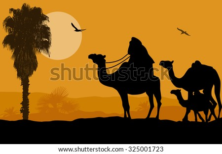 Camel caravan on beautiful landscape at sunset, vector illustration  - stock vector