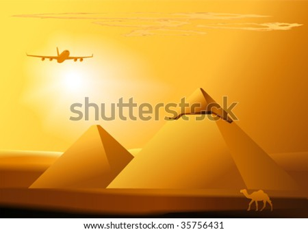 camel,jet,pyramids and sunset.vector illustration. - stock vector