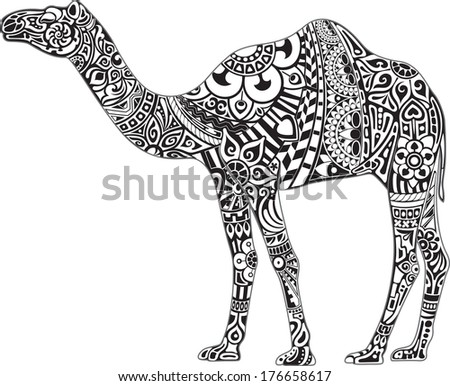 Camel with black & white ornament - stock vector