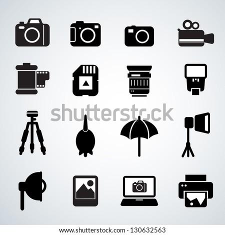 camera accessories - stock vector