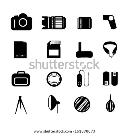 Camera accessory icons. Devices with camera. - stock vector