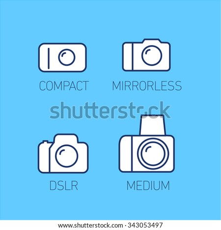 camera and photography systems from compact to mirrorless, dslr and medium format vector linear icon and infographic | illustrations of gear and equipment for photographers  on blue background - stock vector