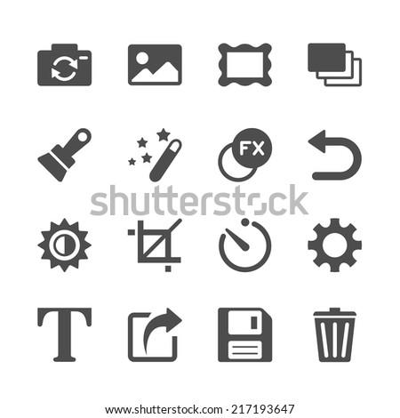camera application icon set, vector eps10. - stock vector