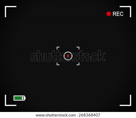 Camera background, Camera Viewfinder with cross hair, target mark, rec label and battery level indicator. With scanlines and red dot at center. - stock vector