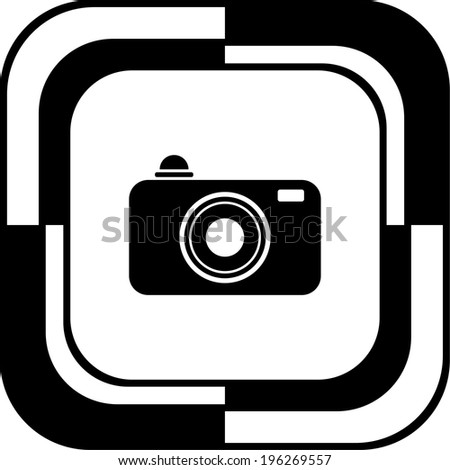 Camera button mosaic square - stock vector
