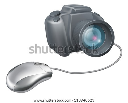 Camera computer mouse concept, a computer mouse attached to a camera. Concept for uploading images or browsing for images on a computer or any other IT and picture theme. - stock vector