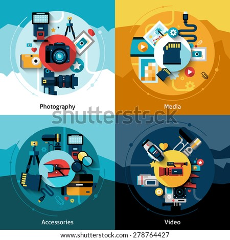 Camera design set with photography media accessories and video flat icons isolated vector illustration - stock vector