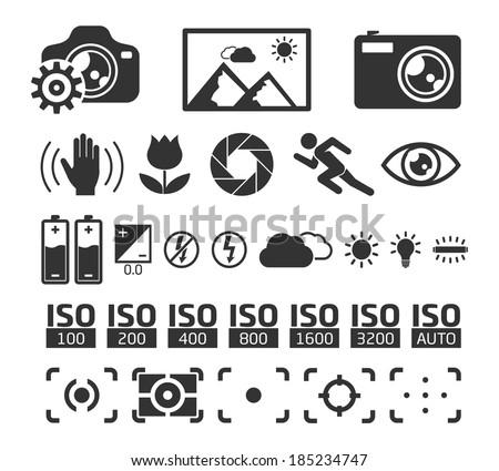 Camera Display Screen symbols  - stock vector