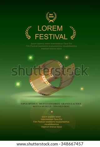 Camera film 35 mm roll gold, festival movie poster,  green background, Slide films frame, vector  illustration - stock vector