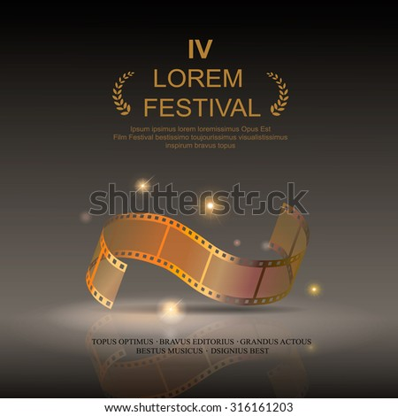 Camera film 35 mm roll gold, festival movie poster, Slide films frame, vector illustration - stock vector