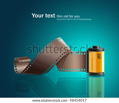 Camera film roll design on blue background. vector illustration - stock vector