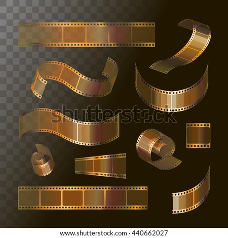Camera film roll gold color, 35 mm, festival movie icons, vector illustration - stock vector