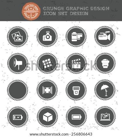 Camera icon set,black button,clean vector - stock vector