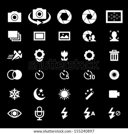 Camera Icon set - White - stock vector