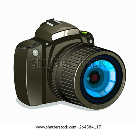 Camera Icon Side View on White Background - stock vector