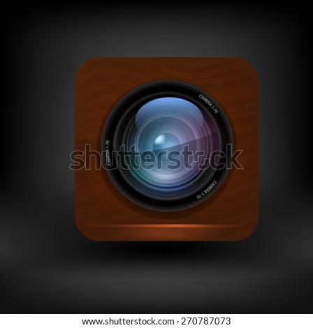 Camera lens button. Vector - stock vector