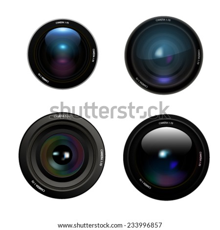 Camera lens set on white background. Vector - stock vector
