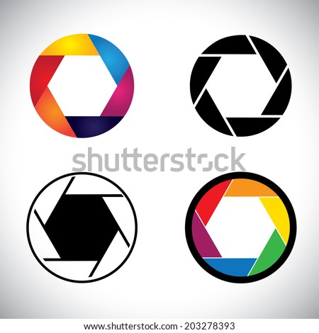 Camera lens shutter aperture abstract icons - vector graphic. This illustration also represents slr camera, point & shoot camera, camera focus, etc - stock vector