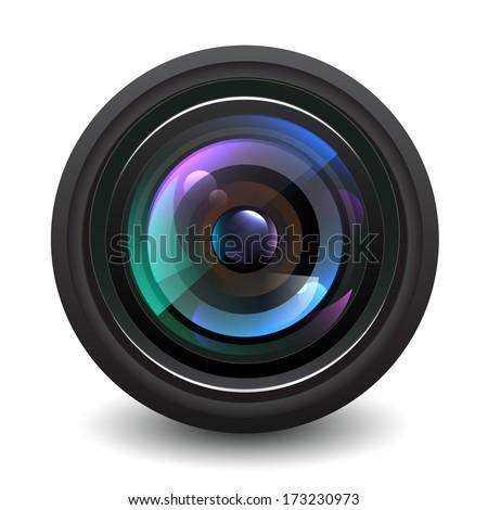 Camera lens vector. - stock vector