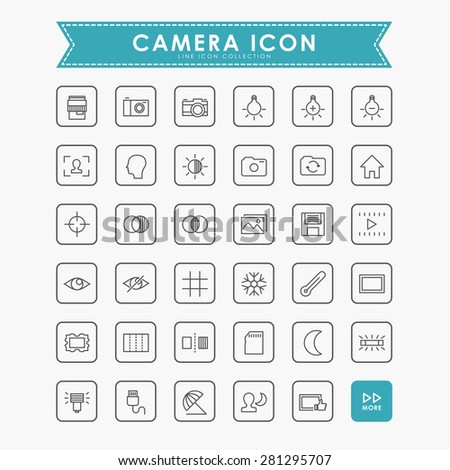 camera line icons - stock vector