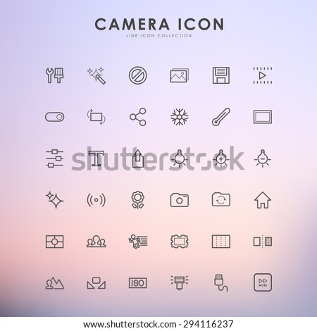 camera line icons on gradient background - stock vector