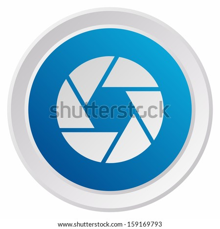 Camera objective (GRX btn metallic, blue version) - stock vector