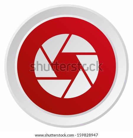 Camera objective (GRX btn metallic, red version)  - stock vector