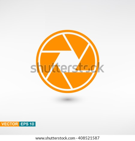Camera objective icon vector eps 10. Orange Camera objective icon with shadow on a gray background. - stock vector
