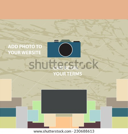 Camera on an abstract background with photos - stock vector