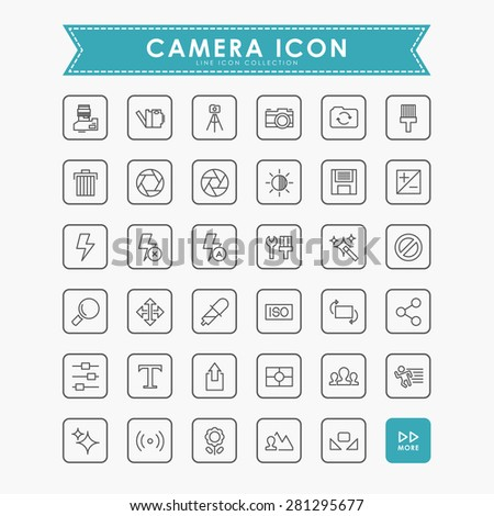 camera outline icons - stock vector