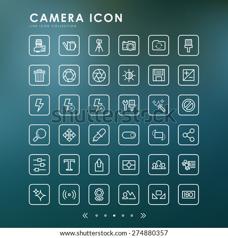 camera outline icons with blur background - stock vector