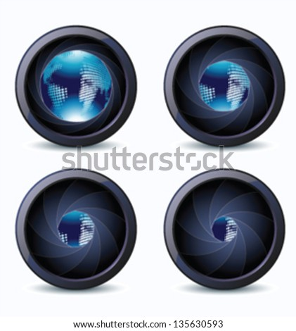 camera photo lens with earth - stock vector
