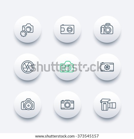 camera, photography line icons, dslr, aperture, round modern icons set, vector illustration - stock vector