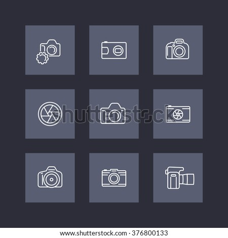 camera, photography line icons, dslr, aperture, slr camera square icons set, vector illustration - stock vector