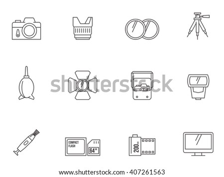 Camera repair icons in thin outlines.  - stock vector
