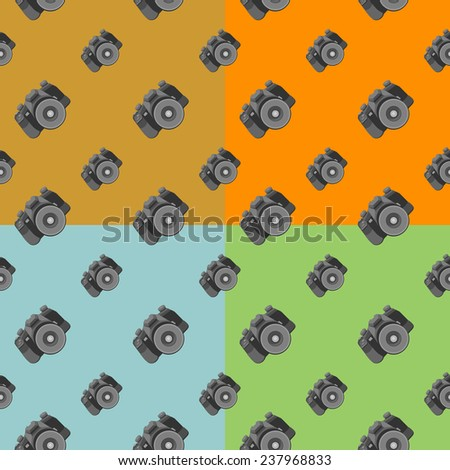 camera seamless. pattern 4 colors: gold, orange, blue, green.  vector. - stock vector