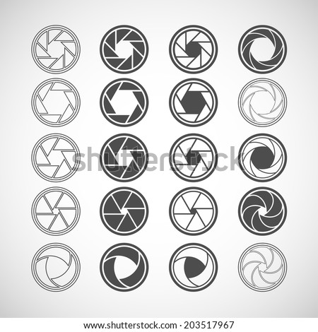camera shutter icon set, each icon is a single object (compound path), vector eps10 - stock vector