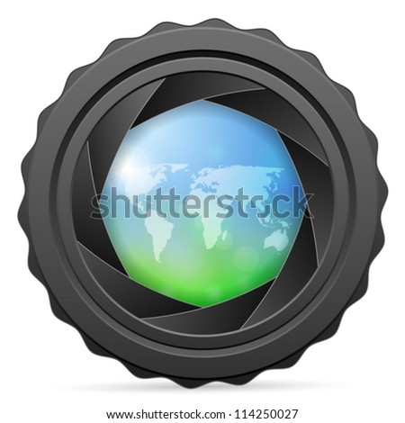 Camera shutter with world map on white background. Vector illustration. - stock vector