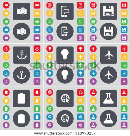 Camera, SMS, Floppy, Anchor, Light bulb, Airplane, Battery, Web cursor, Flask icon symbol. A large set of flat, colored buttons for your design. Vector illustration - stock vector