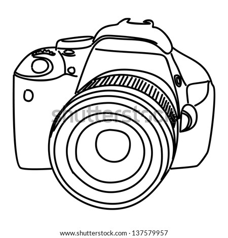 camera vector isolated on white background - stock vector
