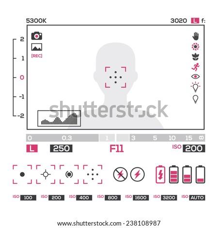 camera viewfinder colors display  - stock vector