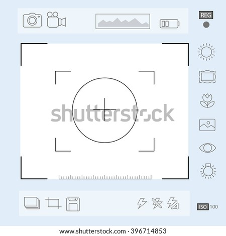 Camera viewfinder display, Exposure and composition focus, electronic zoom,  portrait vector - stock vector
