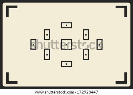 camera viewfinder with focusing screen - stock vector