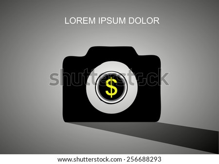 Camera With Coin Lens icon vector - stock vector