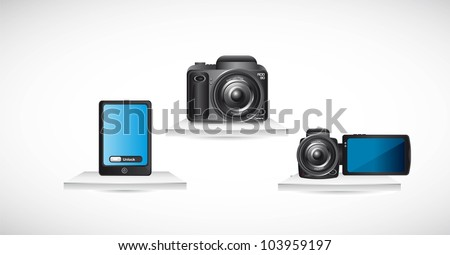camera with phohe and video  over shelf. vector illustration - stock vector