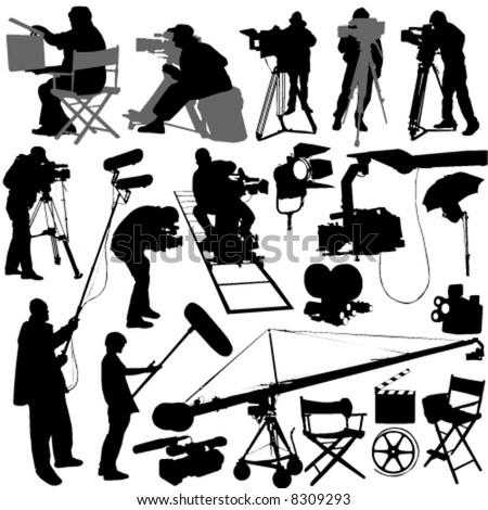 cameraman and film set accessories - stock vector