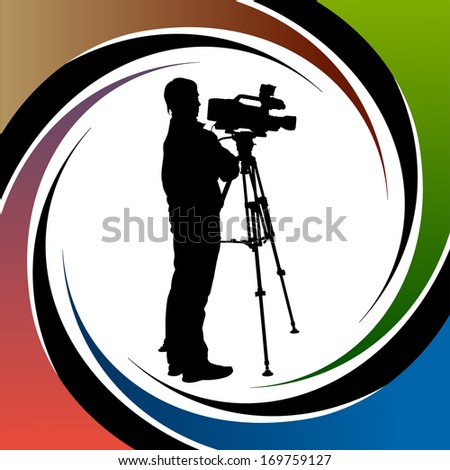 Cameraman at work silhouettes - stock vector